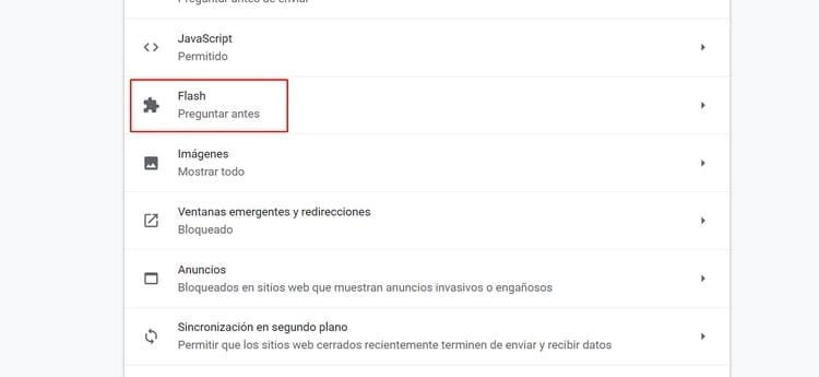 activar Adobe Flash Player en Google Chrome